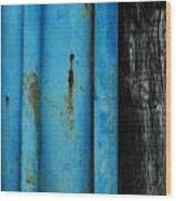 Blue Rusty Farm Gate Wood Print