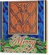 Blue Satin Merry Christmas Wood Print
