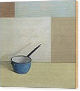 Blue Saucepan Wood Print