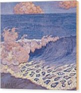 Blue Seascape Wave Effect Wood Print