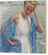 Blue Shawl Wood Print