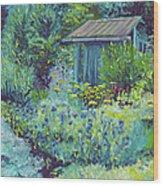 Blue Shed Wood Print