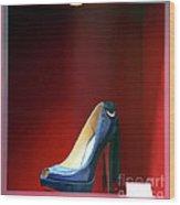 Blue Shoe Wood Print