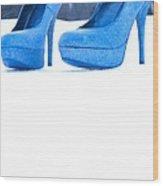 Blue Shoes Wood Print