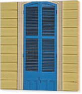 Blue Shutter Door - New Orleans Wood Print