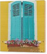 Blue Shutters And Flower Box Wood Print