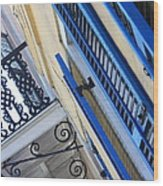 Blue Shutters In New Orleans Wood Print