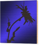 Blue Silhouette Wood Print