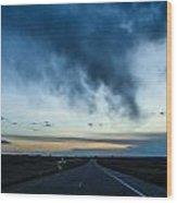 Blue Skies Above Wood Print