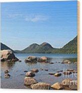 Blue Skies At Jordan Pond Wood Print by Kathleen Garman