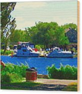 Blue Skies Boats And Bikes Montreal Summer Scene The Lachine Canal Seascape Art Carole Spandau Wood Print