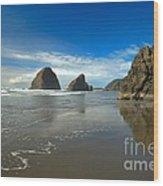 Blue Skies Over Meyers Beach Wood Print by Adam Jewell