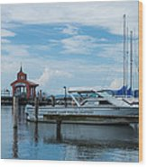 Blue Skies Over Seneca Lake Marina Wood Print