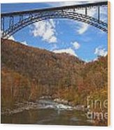Blue Skies Over The New River Bridge Wood Print