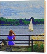 Blue Skies White Sails Drifting Blonde Girl And Collie Watch River Run Lachine Scenes Carole Spandau Wood Print