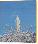 Blue Skies With Washington Monument Wood Print