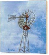 Blue Sky Aermotor Windmill Wood Print
