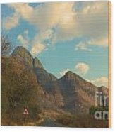 Blue Sky And Mountains Wood Print