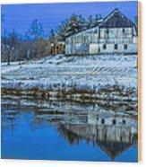 Blue Sky Barn Wood Print