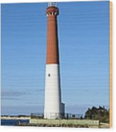Blue Sky Blue Sea  And Barnegat Light Wood Print