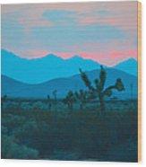 Blue Sky Cacti Sunset Wood Print