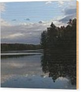 Blue Sky Clouds And Reflections Wood Print