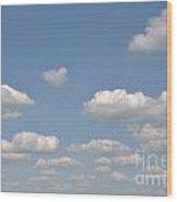 Blue Sky Clouds Wood Print