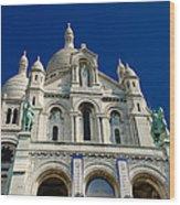 Blue Sky Over Sacre Coeur Basilica Wood Print