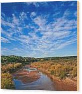 Blue Sky Over The Brazos Wood Print