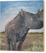Blue Sky Rhino Wood Print