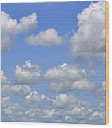 Blue Sky With Cumulus Clouds Day Usa Wood Print