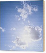 Blue Sky With Sun And Clouds Wood Print by Elena Elisseeva