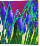 Blue Snowdrops Wood Print