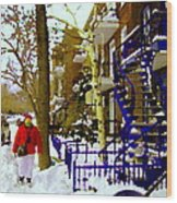 Blue Snowy Staircase And Birch Tree Montreal Winter City Scene Quebec Artist Carole Spandau Wood Print