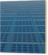 Blue Solar Panel Collector View Wood Print