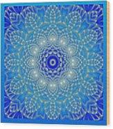 Blue Space Flower Wood Print