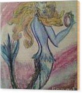 Blue Spike Mermaid Wood Print