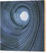 Blue Spiral Staircaise Wood Print