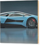 Blue Sports Car In A Wind Tunnel Wood Print