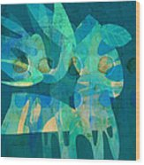 Blue Square Retro Wood Print by Ann Powell