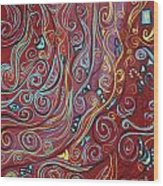 Blue Squiggles Wood Print