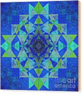 Blue Sri Yantra Variation Wood Print