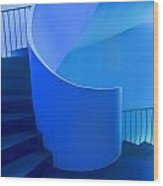 Blue Staircase Lisbon Wood Print