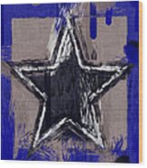 Blue Star Abstract Wood Print