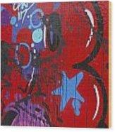 Blue Star Graffiti Nyc 2014 Wood Print