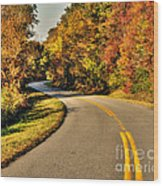Blue Star Highway In Fall Wood Print