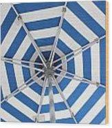Blue Striped Umbrella Wood Print