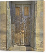 Blue Stripped Door Wood Print