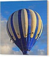 Blue Stripped Hot Air Balloon Wood Print
