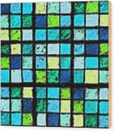 Blue Sudoku Wood Print